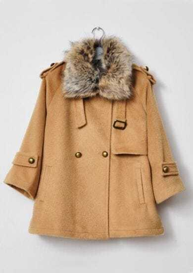 Camel Fur Lapel Lapel Buttons Embellished Coat