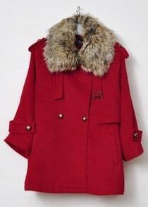 Red Fur Lapel Lapel Buttons Embellished Coat