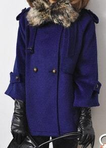Blue Fur Lapel Lapel Buttons Embellished Coat