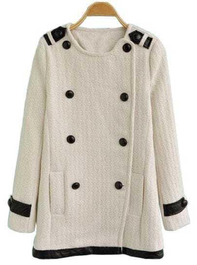 White Long Sleeve Leather Epaulet Pockets Coat