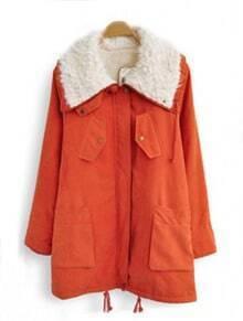 Orange Fur Lapel Drawstring Pockets Loose Coat
