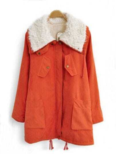 Orange Fur Lapel Drawstring Pockets Loose Coat