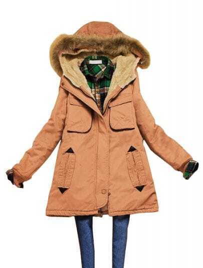 Pink Fur Hooded Zipper Drawstring Loose Coat