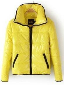 Yellow Lapel Long Sleeve Zipper Pockets Jacket