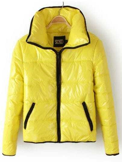 Yellow Lapel Long Sleeve Zipper Pockets Jacket
