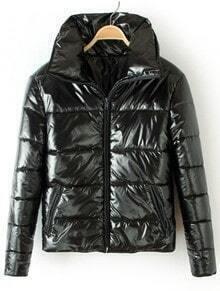 Black Lapel Long Sleeve Zipper Pockets Jacket