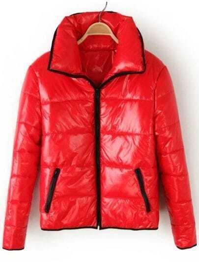 Red Lapel Long Sleeve Zipper Pockets Jacket