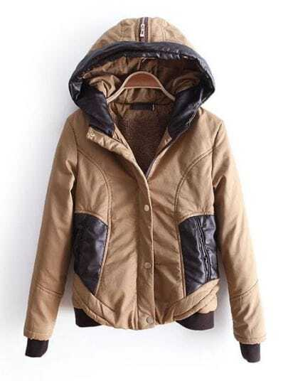 Khaki Hooded Zipper Contrast PU Leather Pockets Jacket