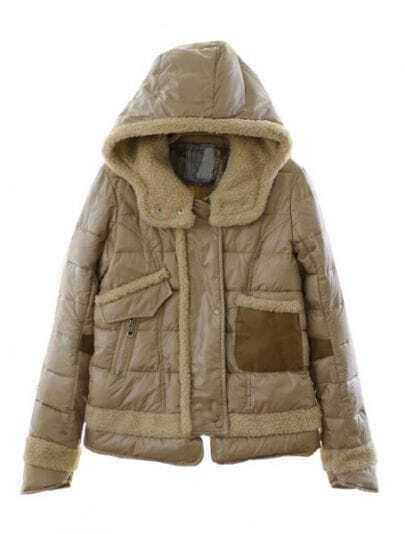 Khaki Hooded Long Sleeve Zipper Pockets Crop Jacket
