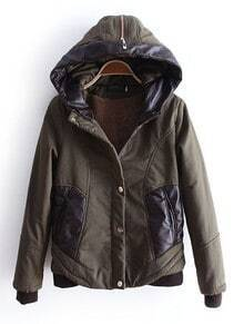 Green Hooded Zipper Contrast PU Leather Pockets Jacket