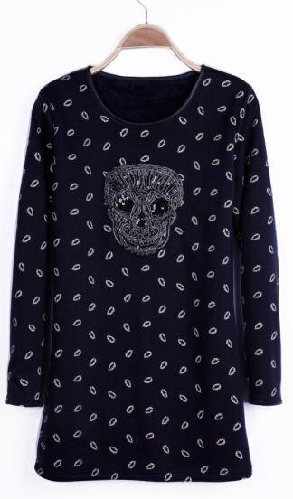 Navy Lips Print Sequin Skull Long Sleeve Basic T-shirt