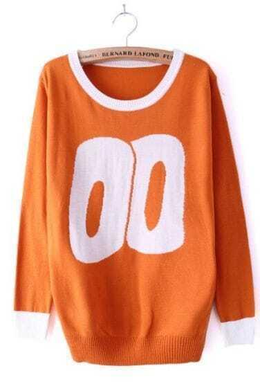 Orange Long Sleeve 2 Print Contrast Trims Sweater
