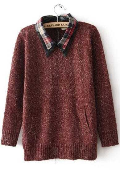 Red Plaid Lapel Long Sleeve Zipper Sweater