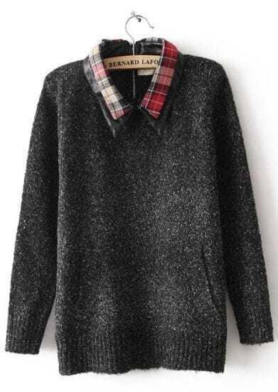 Black Plaid Lapel Long Sleeve Zipper Sweater