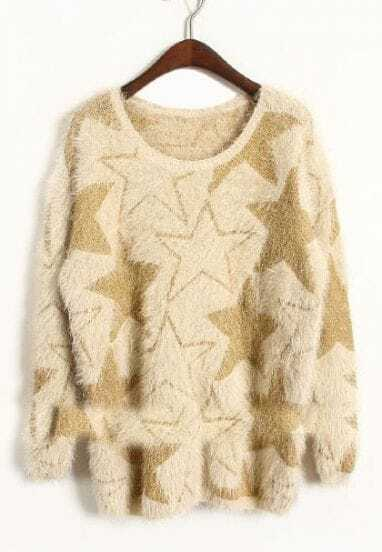 Apricot Long Sleeve Stars Embroidery Mohair Sweater