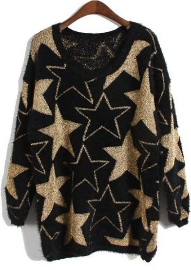 Black Long Sleeve Stars Embroidery Mohair Sweater