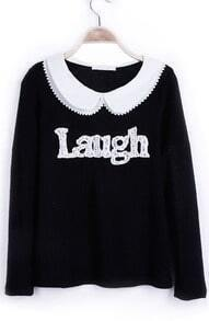 Black Contrast Chiffion Peter Pan Collar Laugh Lightweight Pullover