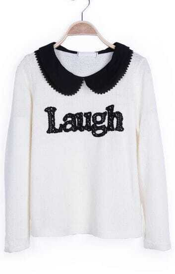 Beige Contrast Chiffion Peter Pan Collar Laugh Lightweight Pullover
