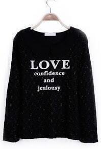Black Peter Pan Collar LOVE confidence and jealousy Metallic-Blend Pullover
