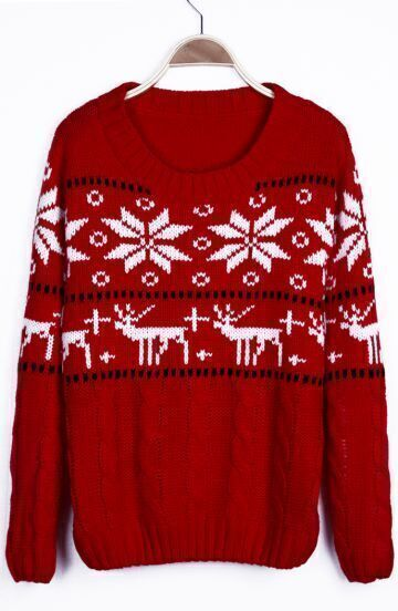 Red Snowflake with Deer Christmas Pattern Cable Sweater