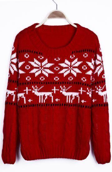 Suéter estampado navidad estilo-Rojo
