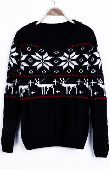 Black Snowflake with Deer Christmas Pattern Cable Sweater