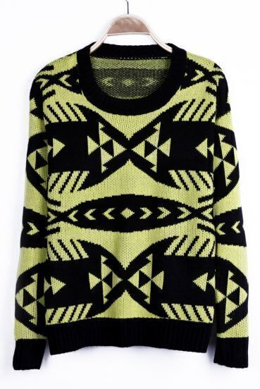 Neon Yellow Geometric Pattern Tribal Round Neck Sweater