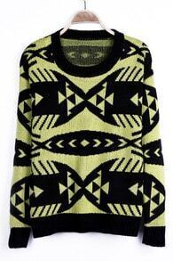 Neon Yellow Geometric Pattern Tribal Round Neck Sweater