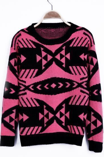 Neon Pink Geometric Pattern Tribal Round Neck Sweater