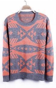 Neon Orange Geometric Pattern Tribal Round Neck Sweater