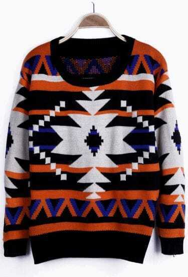 Apricot Geometric Tribal Pattern Black Neck Drop Shoulder Sweater