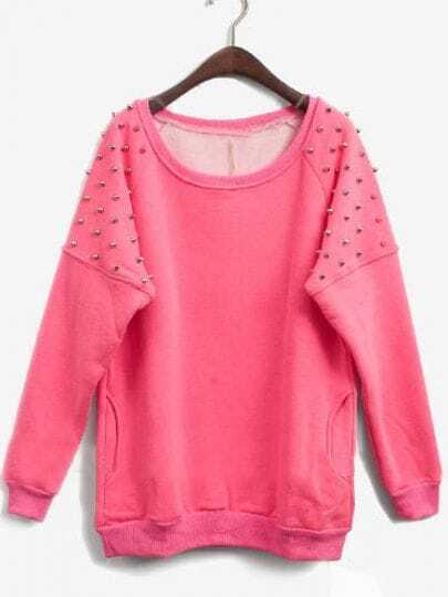 Rose Red Long Sleeve Rivet Pullovers Sweatshirt