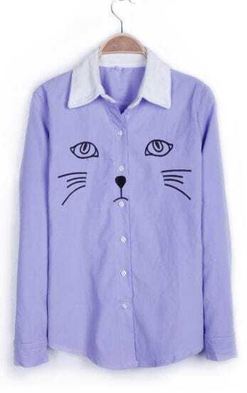 Light Purple Contrast Collar Embroid Cat Corduroy Blouse