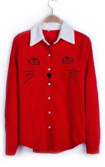 Red Contrast Collar Embroid Cat Corduroy Blouse