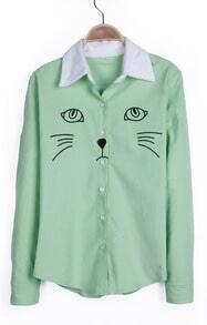 Light Green Contrast Collar Embroid Cat Corduroy Blouse