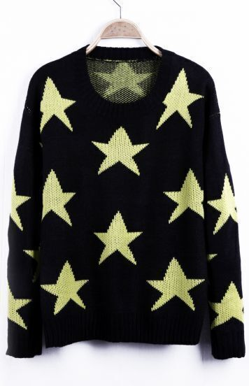 Neon Yellow Seeing Stars Pattern Round Neck Sweater