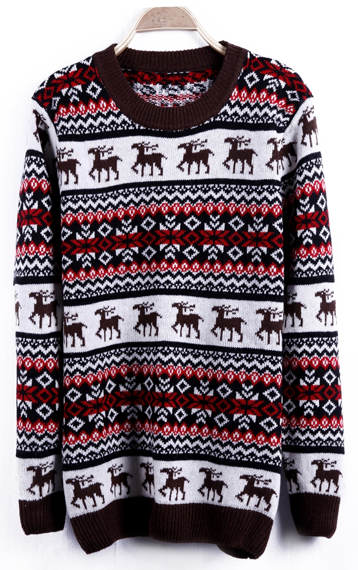Red Deer with Snowflake Fair Isle Pattern Sweater -SheIn(Sheinside)
