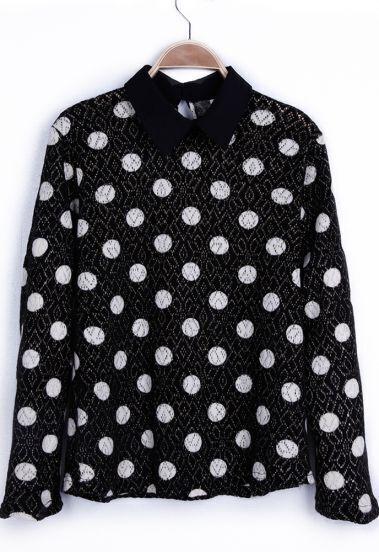 Black Contrast Collar Metallic Yarn Polka Dot Lightweight Pullover