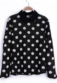 Black Contrast Collar Metallic Yarn Polka Dot Lightweight Pullover