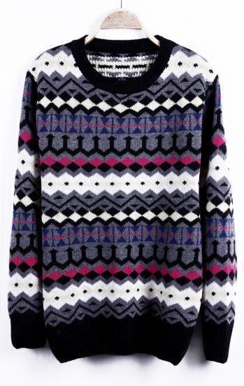 Grey Geometric Striped Pattern Tribal Round Neck Sweater