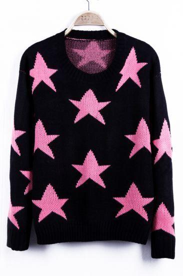 Neon Pink Seeing Stars Pattern Round Neck Sweater
