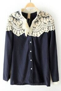 Navy Floral Lace Cape Collar Long Sleeve Blouse