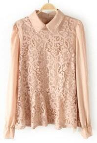 Peach Wing Collar Floral Lace Front Long Sleeve Blouse