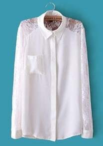 White Contrast Sheer Floral Lace Long Sleeve Pocket Blouse