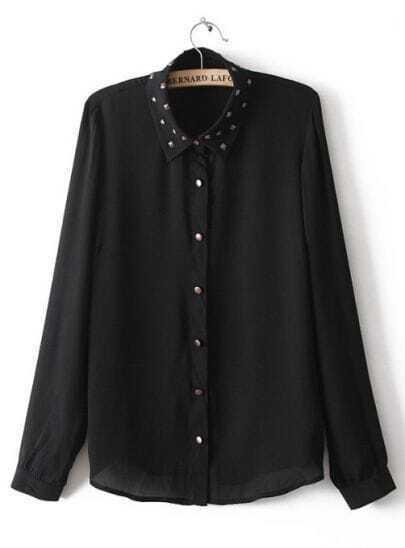 Black Studded Embellished Lapel Long Sleeve Chiffon Blouse