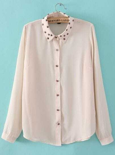 White Studded Embellished Lapel Long Sleeve Chiffon Blouse