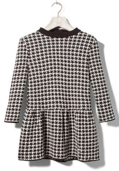 Black and White Houndstooth Long Sleeve Peplum Knitwear