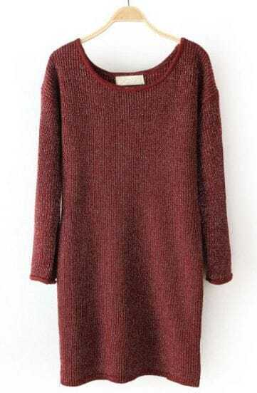 Oxblood Metallic-Blend Round Neck Long Sleeve Basic Knitwear