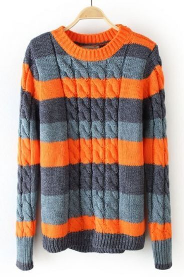 Orange Neck Contrast Wide Striped Cable Knit Sweater