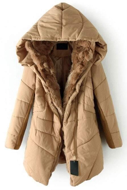 Khaki Hooded Contrast Fur Lined Irregular Stitch Padded Coat ...